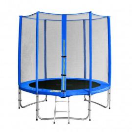 Trampoline de jardin bleu avec echelle et renforts MyJump 1,85 M