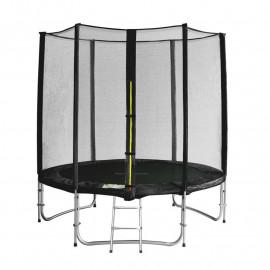 Trampoline de jardin avec echelle et renforts noir MyJump 1,85 M