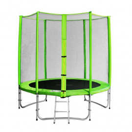 Trampoline de jardin vert avec echelle et renforts MyJump 1,85 M