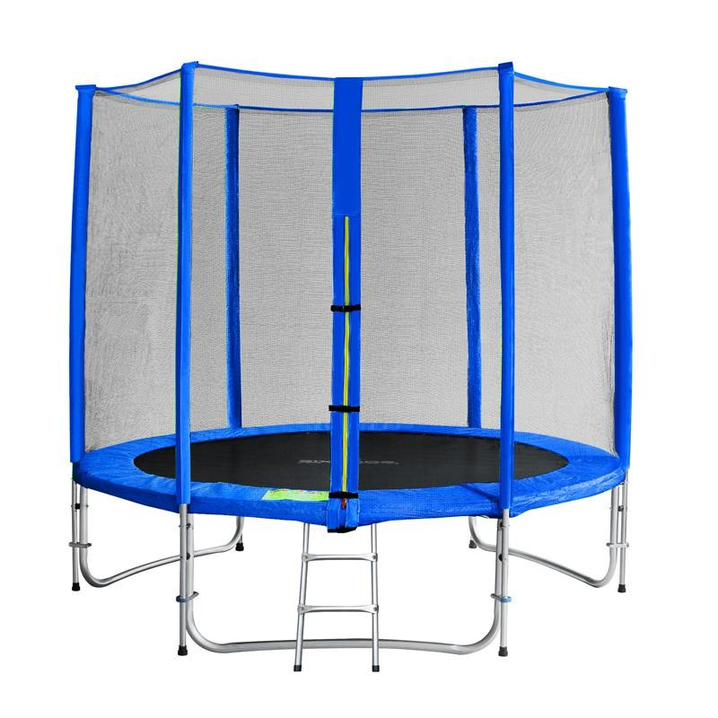trampoline de jardin bleu avec echelle et renforts myjump 2 45 m. Black Bedroom Furniture Sets. Home Design Ideas