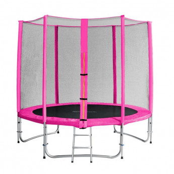 Trampoline de jardin rose avec echelle et renforts MyJump 2,45 M