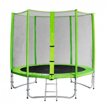 Trampoline de jardin vert avec echelle et renforts MyJump 2,45 M