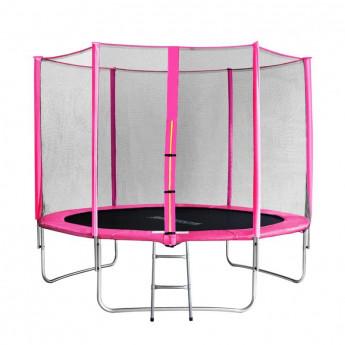 Trampoline de jardin rose avec echelle MyJump 3,05 M