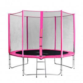 Trampoline de jardin rose avec echelle et renforts MyJump 3,05 M
