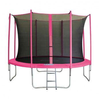 Trampoline de jardin rose V2 avec echelle MyJump 3,70 M