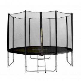 Trampoline de jardin noir avec echelle et renforts MyJump 3,70 M