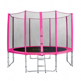 Trampoline de jardin rose avec echelle et renforts MyJump 3,70 M