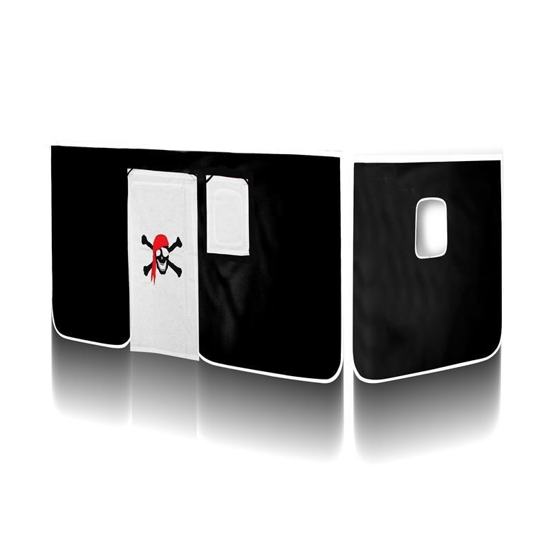 rideaux pirate noir blanc pour lit sur lev. Black Bedroom Furniture Sets. Home Design Ideas