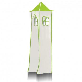 Tour pour lit surélevé (tissu + cadre métallique) - Vert/Blanc