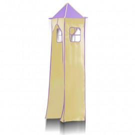 Tissu de La tour et son cadre métallique - Couleur Violet/Beige