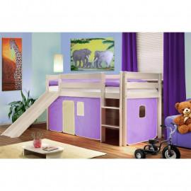 Lit surélevé d'enfant avec toboggan bois de pin massif blanc - violet/beige