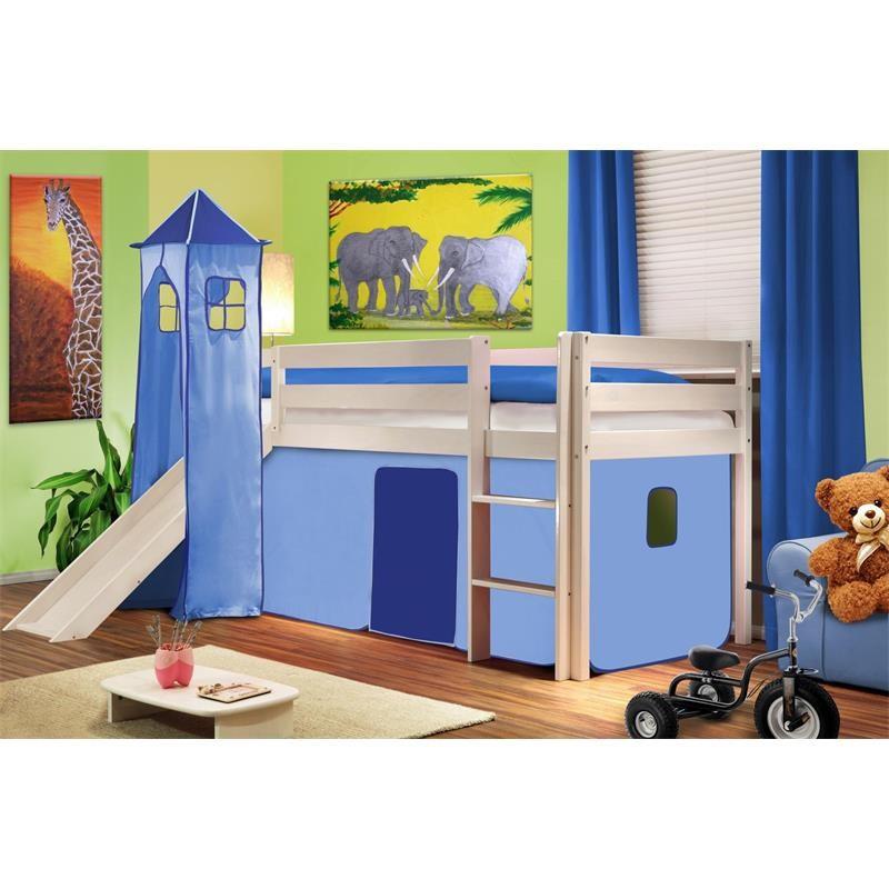 lit sur lev d 39 enfant avec tour et toboggan bois de pin massif blanc bleu clair. Black Bedroom Furniture Sets. Home Design Ideas