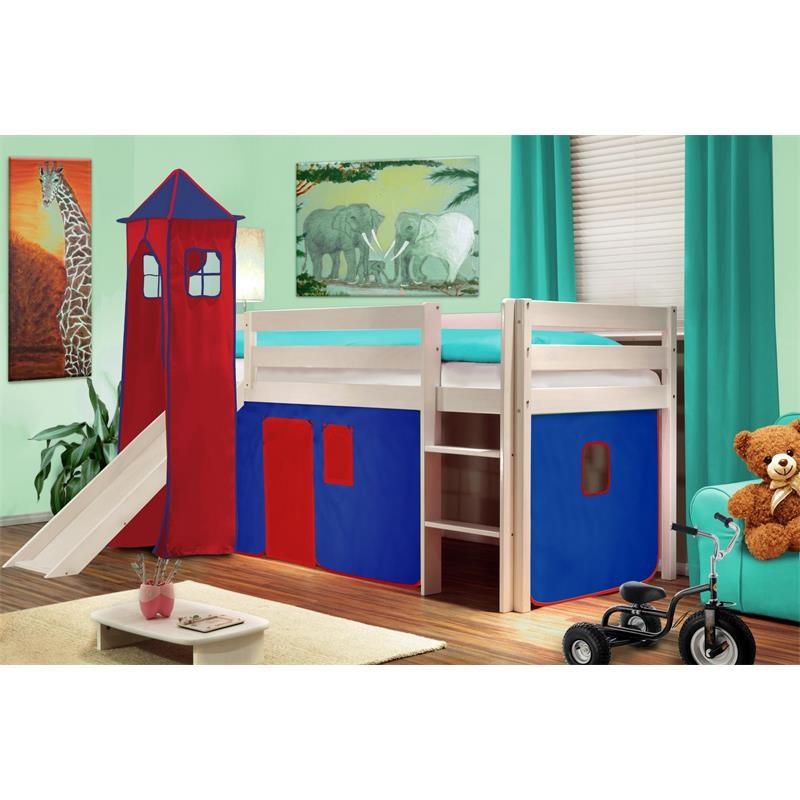 lit sur lev d 39 enfant avec tour et toboggan bois de pin massif blanc bleu rouge v2. Black Bedroom Furniture Sets. Home Design Ideas