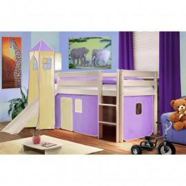 Lit surélevé d'enfant avec tour et toboggan bois de pin massif blanc – violet/beige
