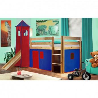 Lit surélevé d'enfant avec tour et toboggan bois de pin massif verni en couleur naturelle – bleu/rouge