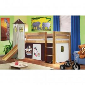 Lit surélevé d'enfant avec tour et toboggan bois de pin massif verni en couleur naturelle - Pirat marron
