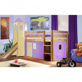 Lit surélevé d'enfant avec tour et toboggan bois de pin massif verni en couleur naturelle - violet/b