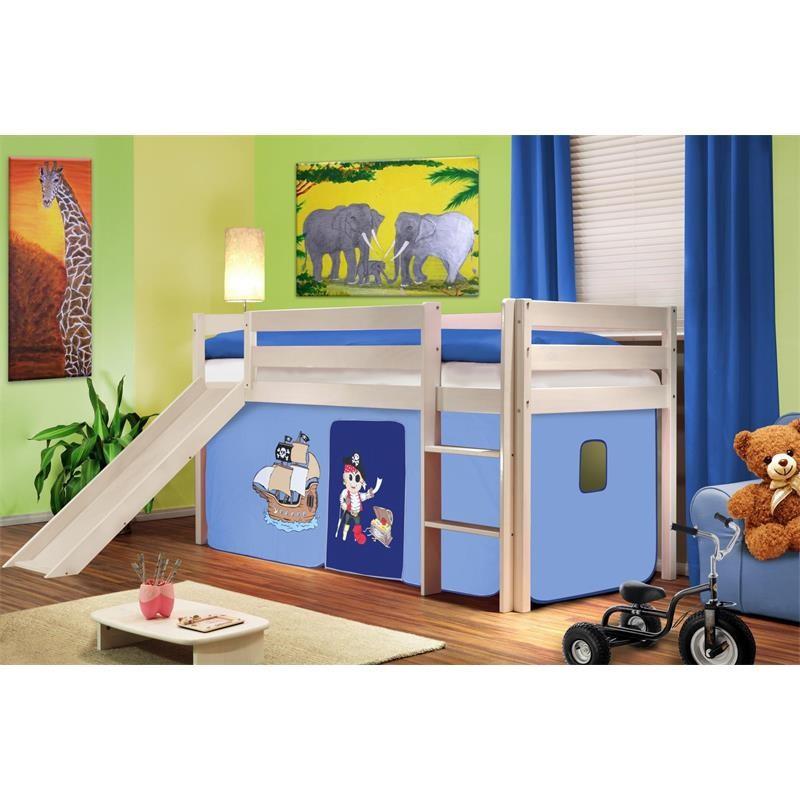 lit sur lev d 39 enfants avec toboggan bois de pin massif blanc pirat bleu. Black Bedroom Furniture Sets. Home Design Ideas