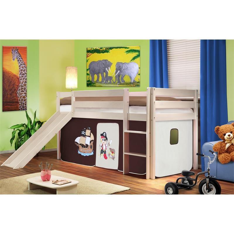 lit sur lev d 39 enfants avec toboggan bois de pin massif blanc pirat marron beige. Black Bedroom Furniture Sets. Home Design Ideas