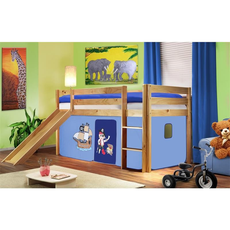 lit sur lev d 39 enfants avec toboggan bois de pin massif verni en couleur naturelle pirat bleu. Black Bedroom Furniture Sets. Home Design Ideas