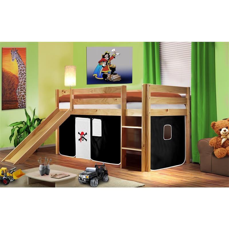 lit sur lev d 39 enfants avec toboggan bois de pin massif verni en couleur naturelle pirat noir blan. Black Bedroom Furniture Sets. Home Design Ideas