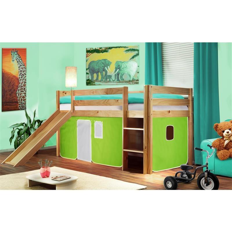lit sur lev d 39 enfants avec toboggan bois de pin massif verni en couleur naturelle vert blanc. Black Bedroom Furniture Sets. Home Design Ideas