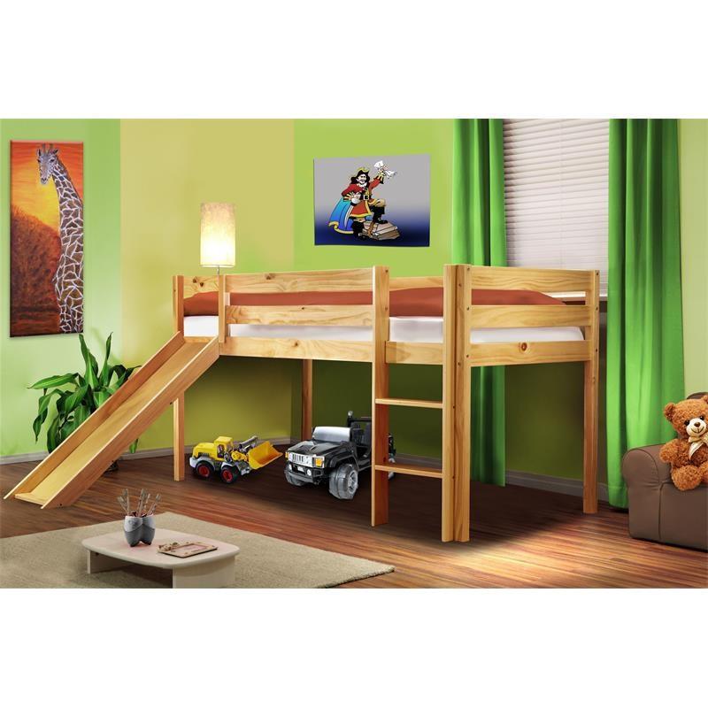 lit sur lev d 39 enfants avec toboggan en bois de pin massif. Black Bedroom Furniture Sets. Home Design Ideas