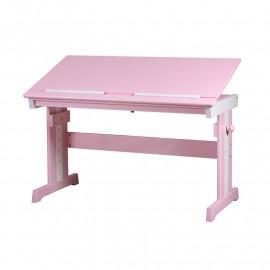 Bureau enfants en bois de pin massif blanc/rose