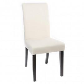 Chaise de salle à manger Titus en bois hêtre massif wengé crème