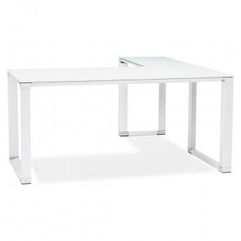 Bureau d'angle design Blanc WARNER plateau en verre