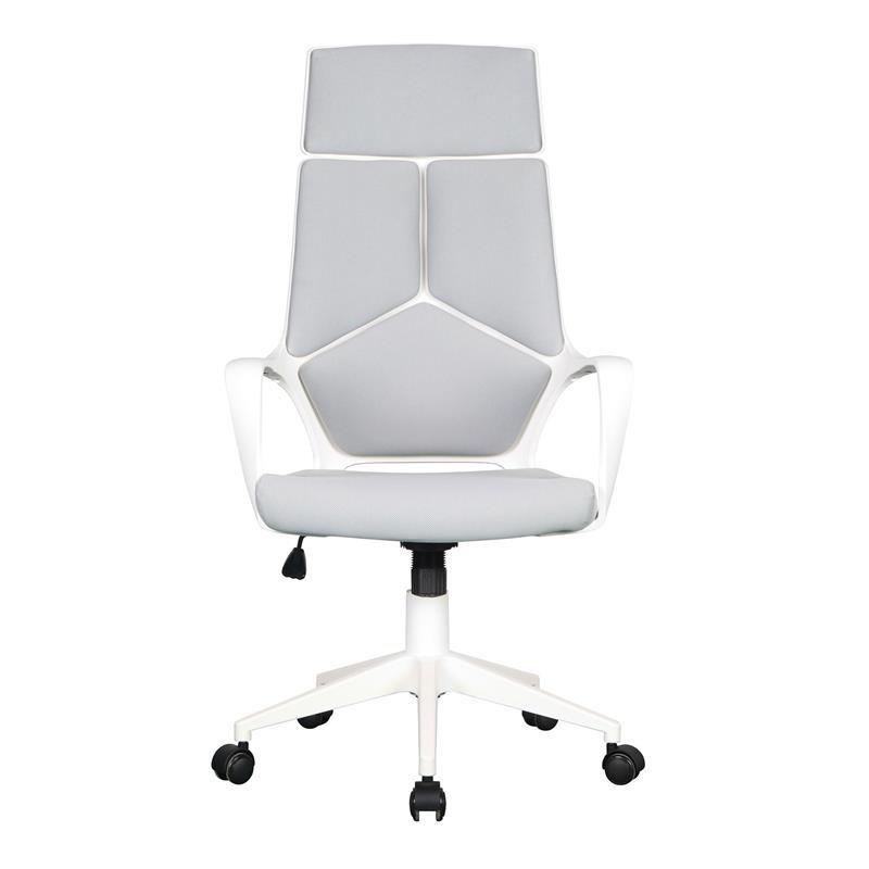 chaise de bureau moderna tissu grise blanche. Black Bedroom Furniture Sets. Home Design Ideas