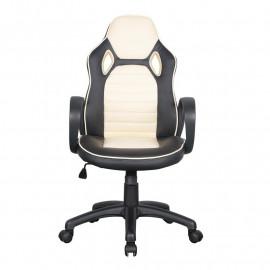 Chaise de bureau Racing pivotante noire/blanche
