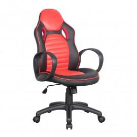 Chaise de bureau Racing pivotante noire/rouge