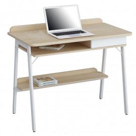 Bureau Informatique Doni aspect bois de chêne blanc -