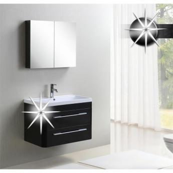 Meubles de salle de bain briva noir tr s brillant - Meuble de salle de bain noir brillant ...