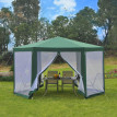 Tonnelle Tente de Réception hexagonale avec moustiquaires Forest verte et blanche