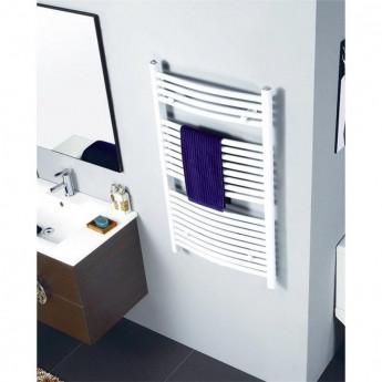 Radiateur sèche-serviettes largeur: 500 mm courbe blanc aux côtés / au milieu