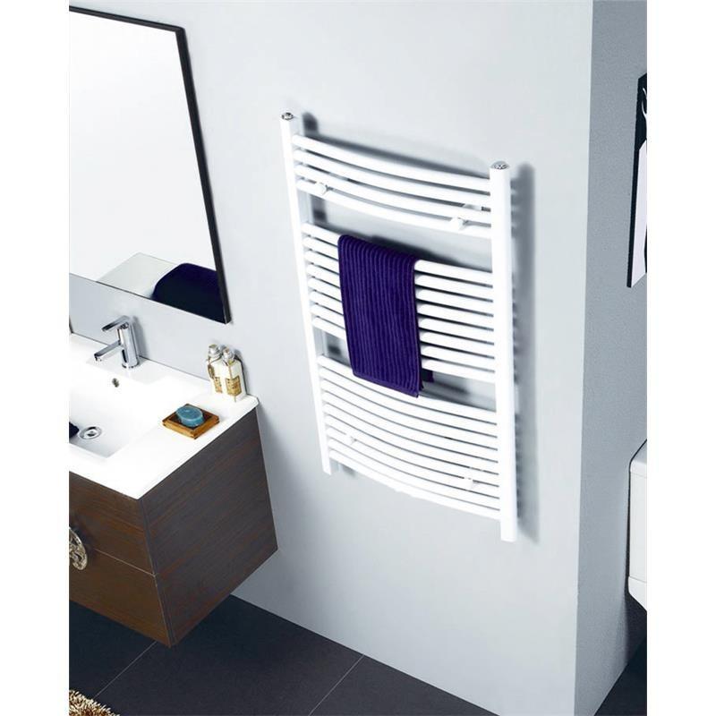 radiateur s che serviettes largeur 500 mm courbe blanc aux c t s au milieu. Black Bedroom Furniture Sets. Home Design Ideas