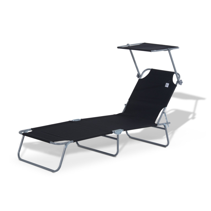 transat lit de plage chaise longue avec pare soleil amovible et matelas design bea noir. Black Bedroom Furniture Sets. Home Design Ideas
