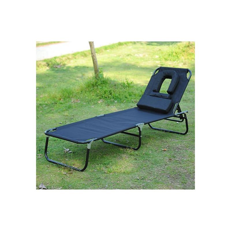 Chaise longue pliante de jardin sun noir for Chaise de jardin pliante