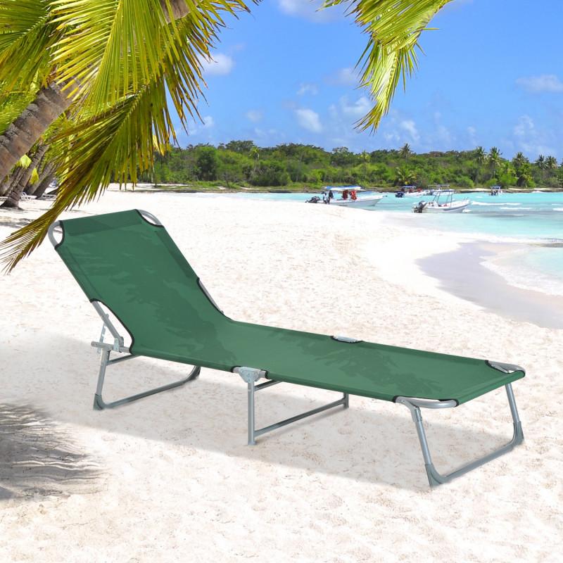 chaise longue pliable dossier r glable hedge vert. Black Bedroom Furniture Sets. Home Design Ideas