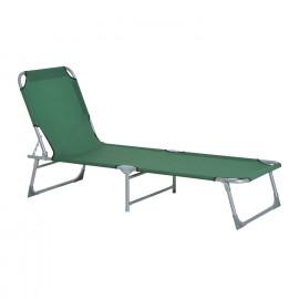 Chaise Longue pliable, dossier réglable HEDGE - Vert