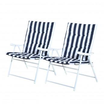 Set de 2 chaises pliantes avec accoudoir ERA - Bleu et Blanc