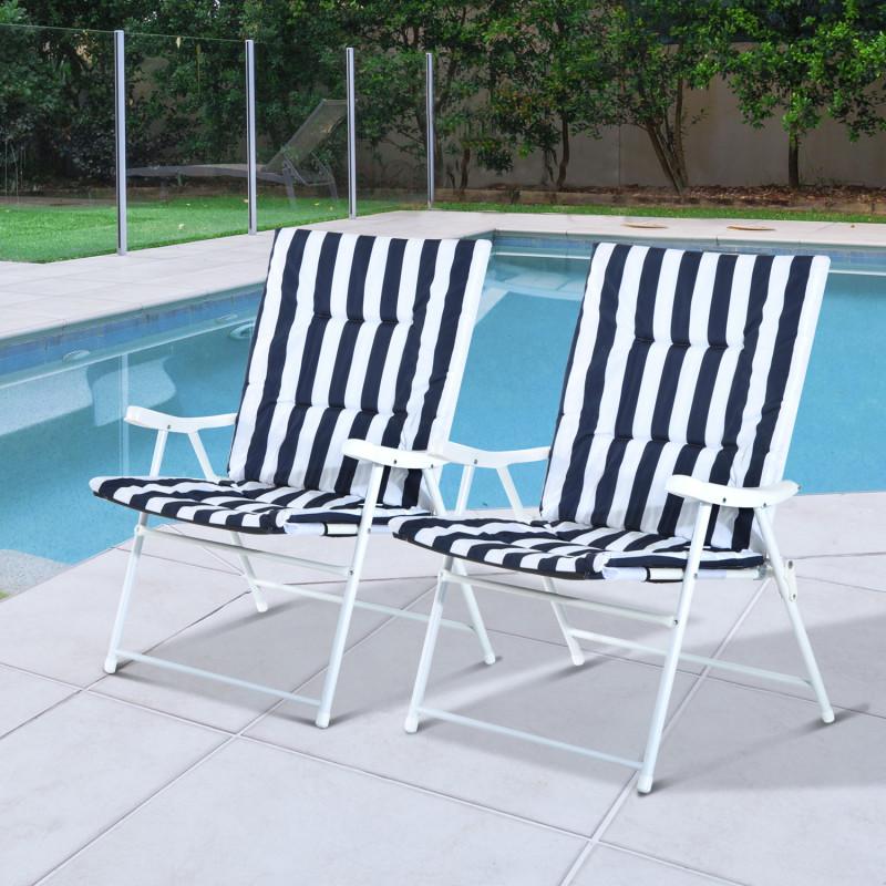 set de 2 chaises pliantes avec accoudoir era bleu et blanc. Black Bedroom Furniture Sets. Home Design Ideas
