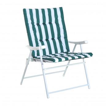 Set 2 chaises pliantes extérieures de plage avec accoudoir Alizé vert et blanc