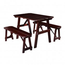 Table de pique-nique Ensemble table de pique-nique Bois Table/Banc en pin Marron