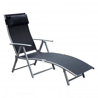 Chaise longue bain de soleil rétractable BORA BORA Noire