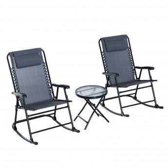 Lot de 2 bains de soleil avec table basse ULA gris et noir