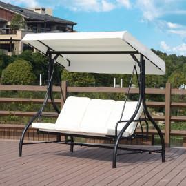 Balancelle de jardin SPA en métal noir et crème convertible