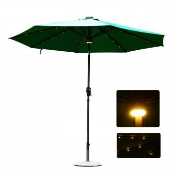 Parasol LED SHINE circulaire vert foncé